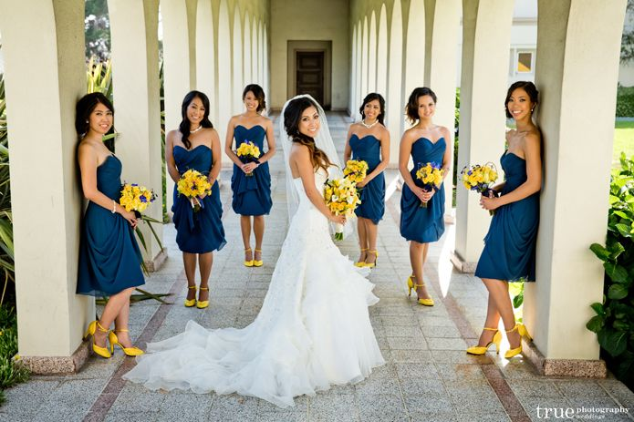 Blue and yellow for a beach wedding.