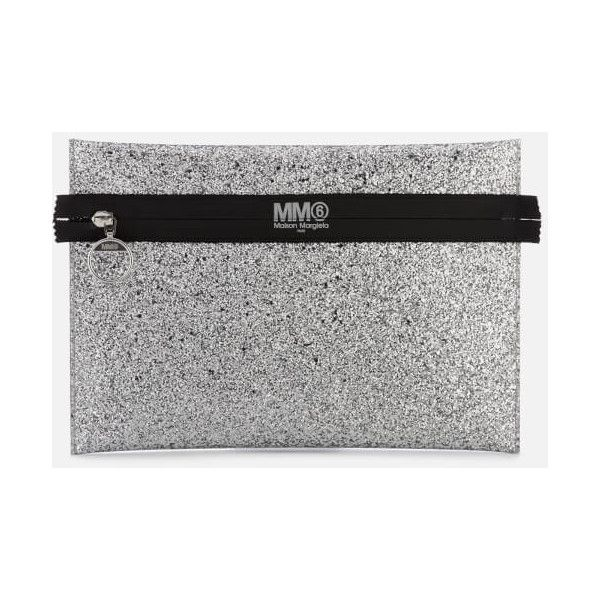 MM6 Maison Margiela Women's Glitter Clutch Bag - Silver (€105) ❤ liked on Polyvore featuring bags, handbags, clutches, silver purse, silver handbags, glitter handbag, glitter clutches and silver glitter handbag