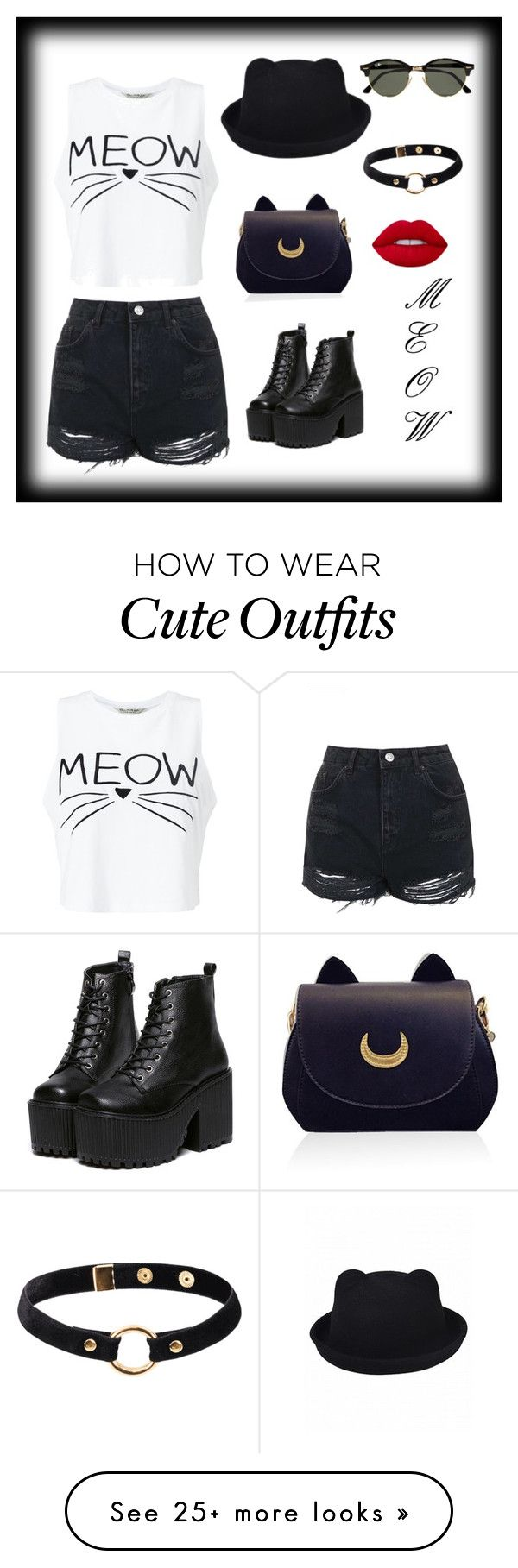 """CUTE KITTY OUTFIT"" by fashioncenter on Polyvore featuring Miss Selfridge, Topshop, Ray-Ban, Nika and Lime Crime"
