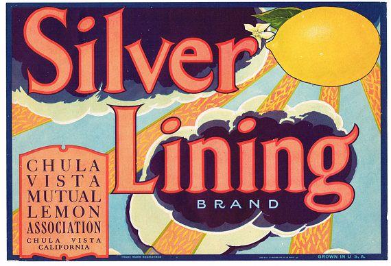 Chula Vista San Diego County Silver Lining Lemon Citrus Fruit Crate Label Print