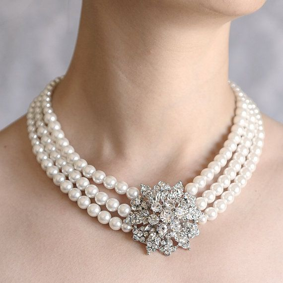 Rhinestone and Pearl Necklace, Crystal Flower Bouquet Art Deco Bridal Necklace