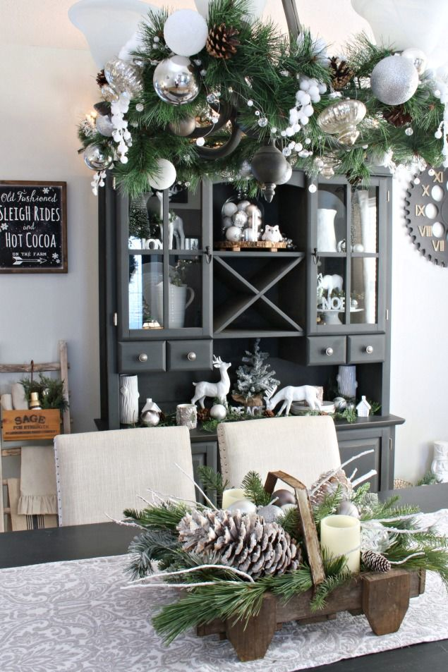 514 best decor winter and christmas images on pinterest for White centerpieces for dining room table