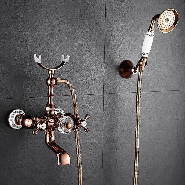 Bathtub Faucets Brass Luxury Rose Gold Bathroom Shower Faucet Set