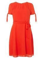 Womens Red Chiffon Fit & Flare Dress- Red