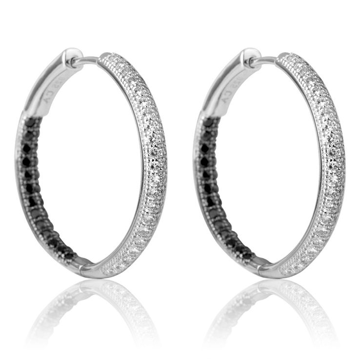 Black  White CZ Silver Hoop Earrings $45 - www.purejewels.com