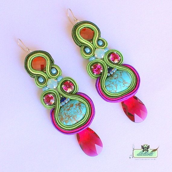 Long Soutache Earrings- Turquise- Swarovski. $150.00, via Etsy.