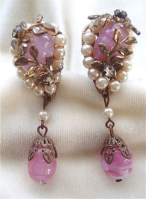 Miriam Haskell pink art glass and faux pearl drop earrings 1940's
