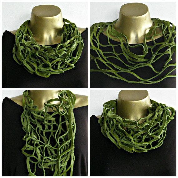 Bold chunky Green leather necklace  scarf  choker  by Dingthings