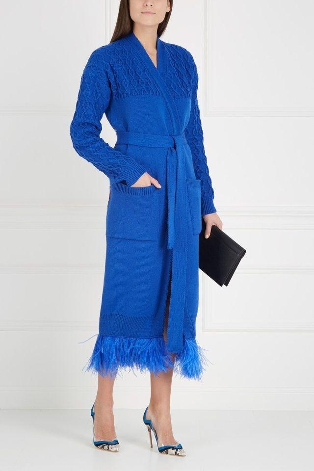 Кардиган из шерсти мериноса и ангоры Story 7КА - Эффектный кардиган насыщенного синего цвета из коллекции российского бренда 7KA в интернет-магазине модной дизайнерской и брендовой одежды