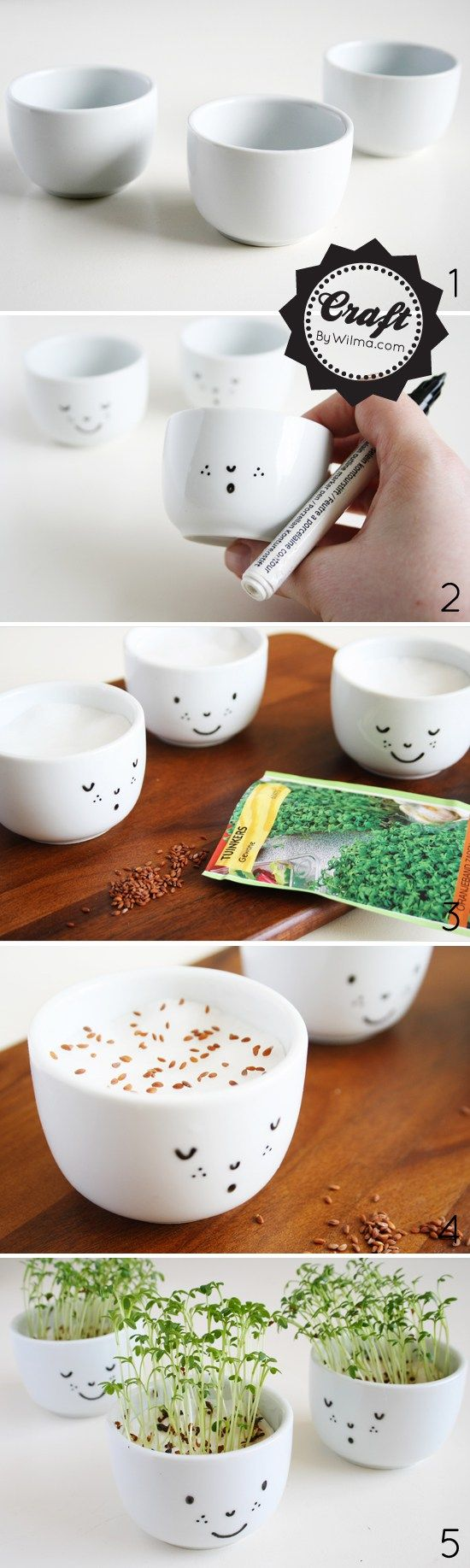 WHAT YOU NEED FOR CRESS CUPS WITH A FACE  – white sake cups (a small bowl or teacup will work too) – black ceramic marker – oven – cotton pads – cress seeds