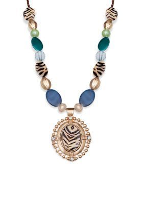 Jules B  Gold-Tone and Teal Animal Print Pendant Necklace