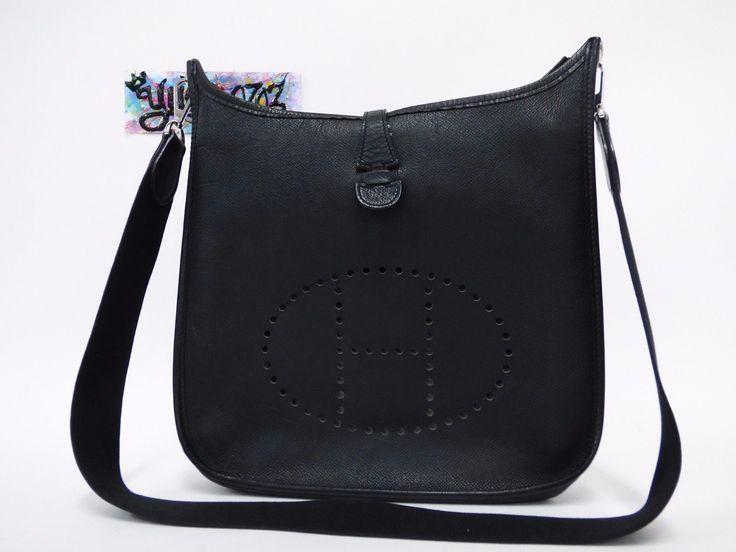 Auth HERMES EVELYNE II PM Black Tourillon Leather Shoulder Bag ...