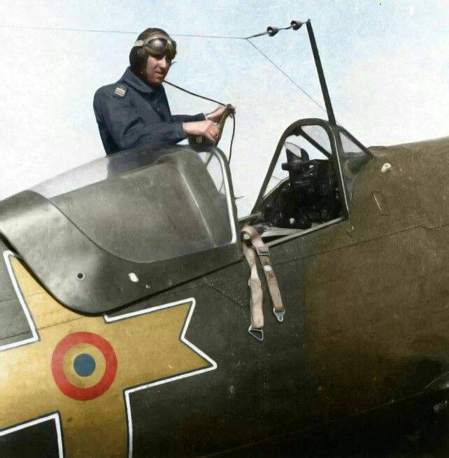 Royal Romainian airforce pilot climbing to an IAR-80, Bucareste, 1943