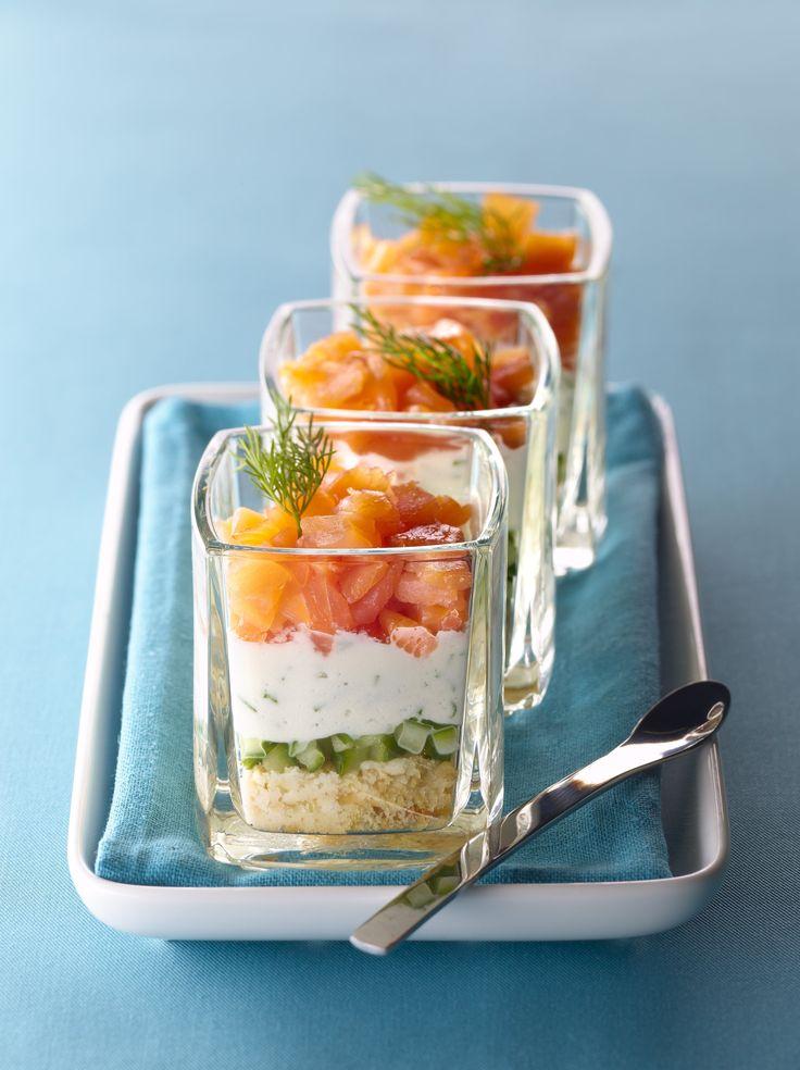 Recette de Verrine fraîcheur de saumon au fromage frais, concombre et TUC® . Il…