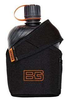 Bear Grylls Canteen Water Bottle W/ Cup and Snug Fitting Nylon Sheath.
