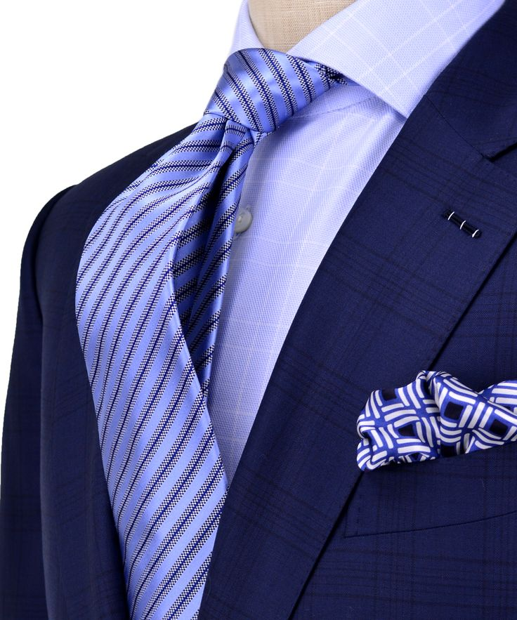 Ermenegildo zegna navy with black shadow plaid suit for Navy suit checkered shirt