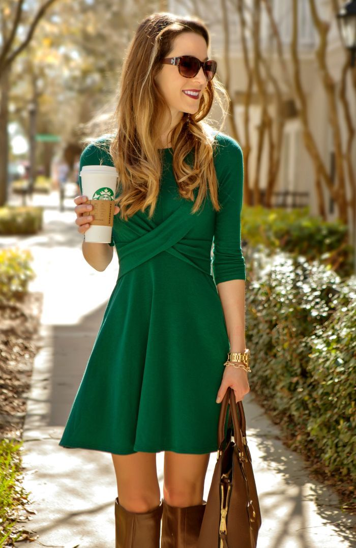 Emerald double crossed dress + boots // Great Baylor look!