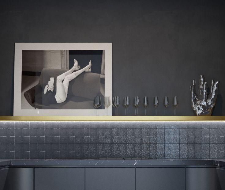 monochrome interior black kitchen marble black & white photography