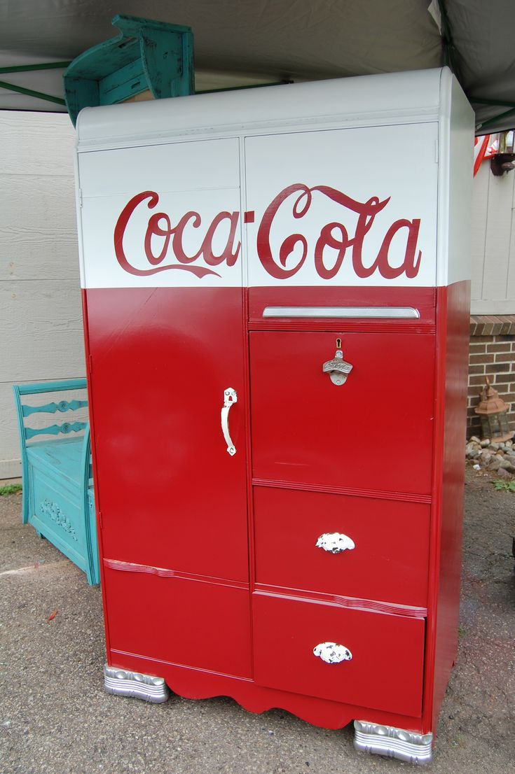 1940's waterfall chifferobe ~ hand painted furniture Coca Cola decor ~ from  Vintique Venue on FB