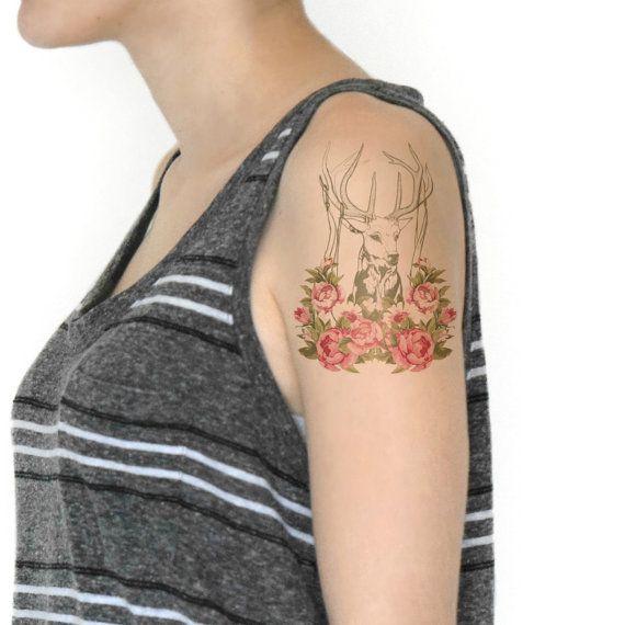 Grandi dimensioni temporanei tatuaggio cervi Buck di Siideways