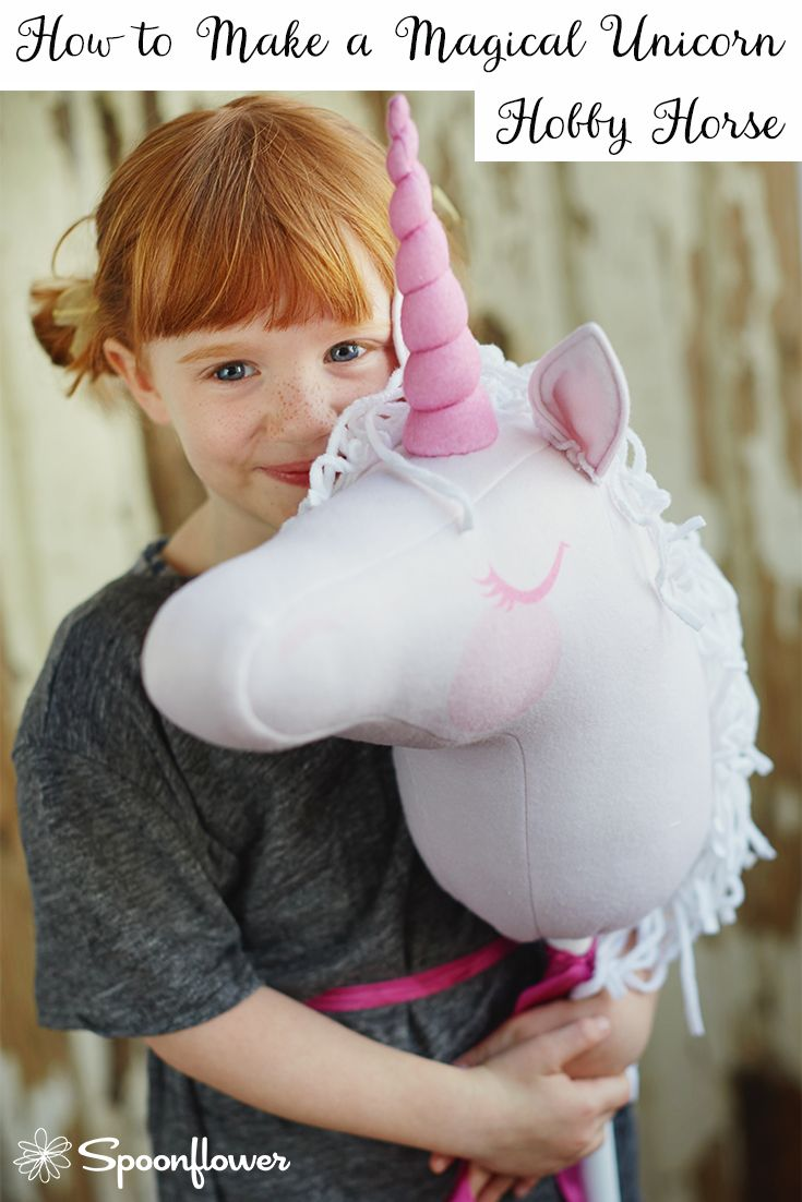 Follow along with a video tutorial from @liag showing how to make the most adorable Unicorn Hobby Horse with Spoonflower Fleece. It's the perfect gift for any child!