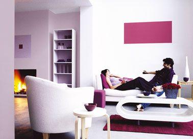 salon couleur blanc et rose meubles design peinture ASTRAL