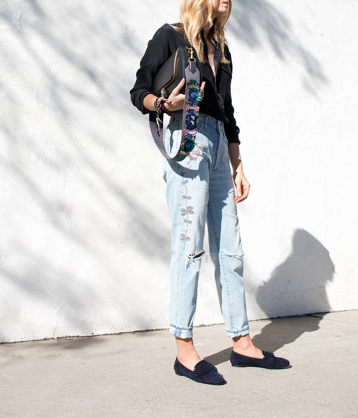 Citizens of Humanity | light rinse distressed boyfriend jean with floral embroidery
