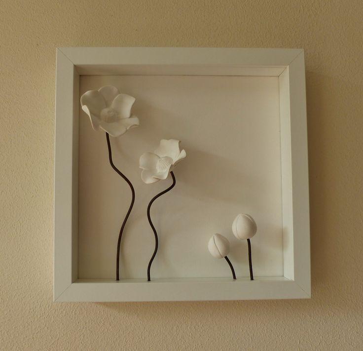 porseleinen bloemen schilderij   www.marionkeramiek.nl