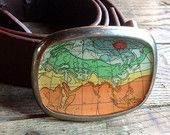 joeyfivecents - repurposed abstract vintage topography map pewter buckle and belt.