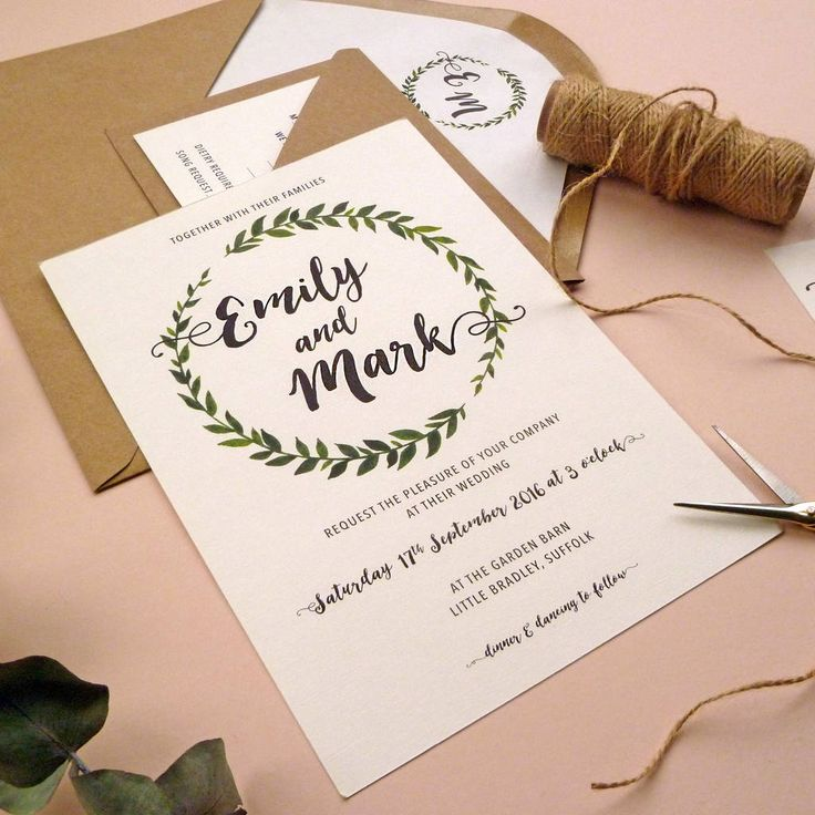 champagne blush wedding invitations%0A Botanical Leaf Wreath Wedding Invitation Set