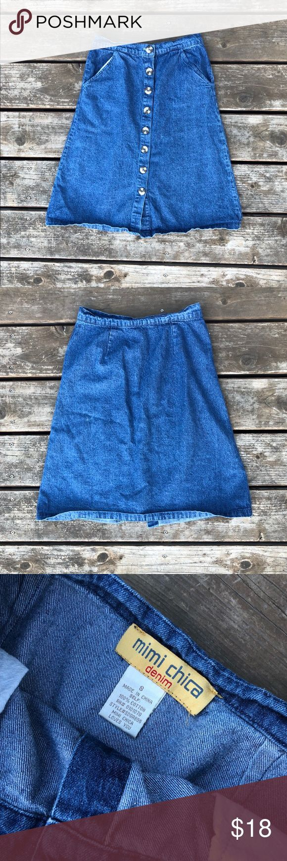 Denim Button Down Skirt Hipster Jean Size S EUC Super cute and hipster skirt! Gems need to be ironed but that's it! Mimi Chica Skirts Midi