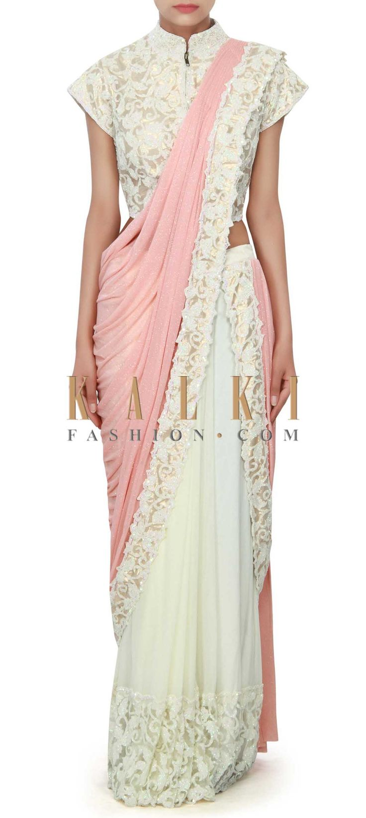 Buy Online from the link below. We ship worldwide (Free Shipping over US$100) Price- $589 Click Anywhere to Tag http://www.kalkifashion.com/white-and-pink-saree-gown-enhanced-in-sequin-cut-work-border-only-on-kalki.html