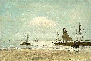 J.H.Weissenbruch, Aan het strand, 1902, olieverf op paneel, 17.7 x 25.8 cm, collectie kunsthandel Mark Smit, Ommen