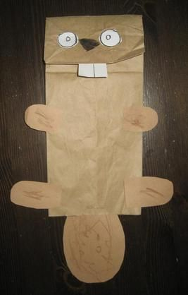 Canada Day Crafts - Beaver Paper Bag Puppet