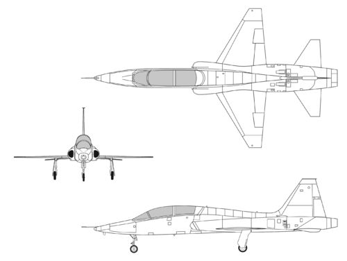 Northrop T-38A Talon orthographic
