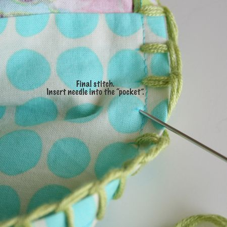 blanket-stitch (can be used as 'base' for crochet edging)