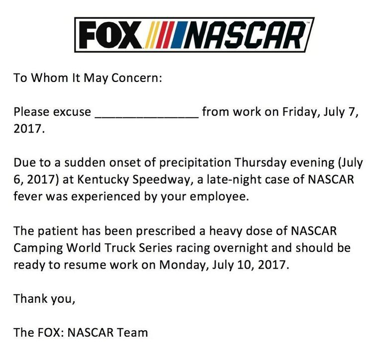 """@nascaronfox on Instagram: """"Thanks for staying up late to watch tonight's #NASCAR Trucks action from @kyspeedway. Need a note for your boss? 👊😎🏁"""""""