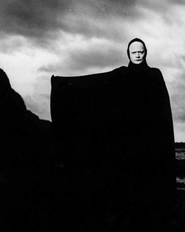 SEVENTH SEAL- Ingmar Bergman's medieval morality play about man in search of the meaning of life is set in 14th-century Sweden. But it's a magically powerful film–the story seems to be playing itself out in a medieval present. A knight tormented and doubting, returns from 10 wasted years in the Crusades, and Death  comes to claim him. Hoping to gain some revelation or obtain some knowledge before he dies, the knight challenges Death to a game of chess.