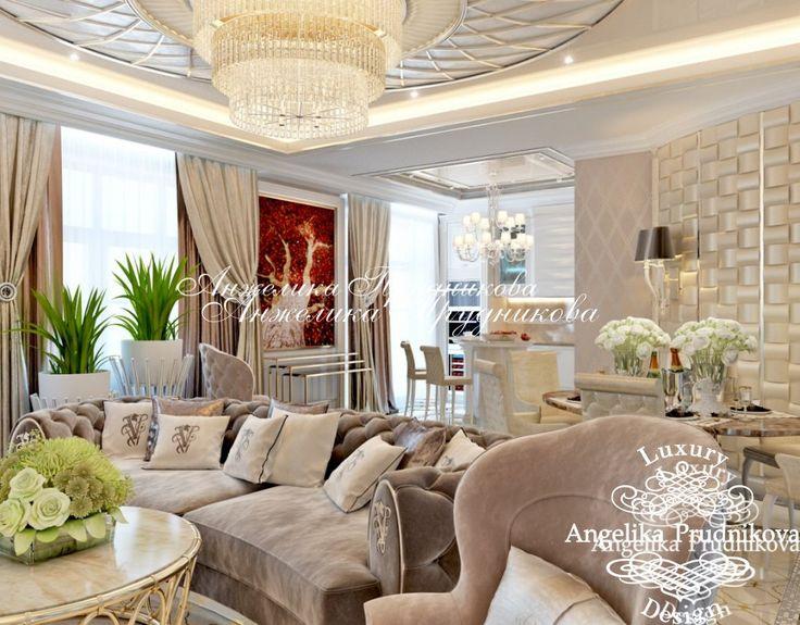 Дизайн интерьера гостиной квартиры в стиле модерн в ЖК Итальянский Квартал - фото