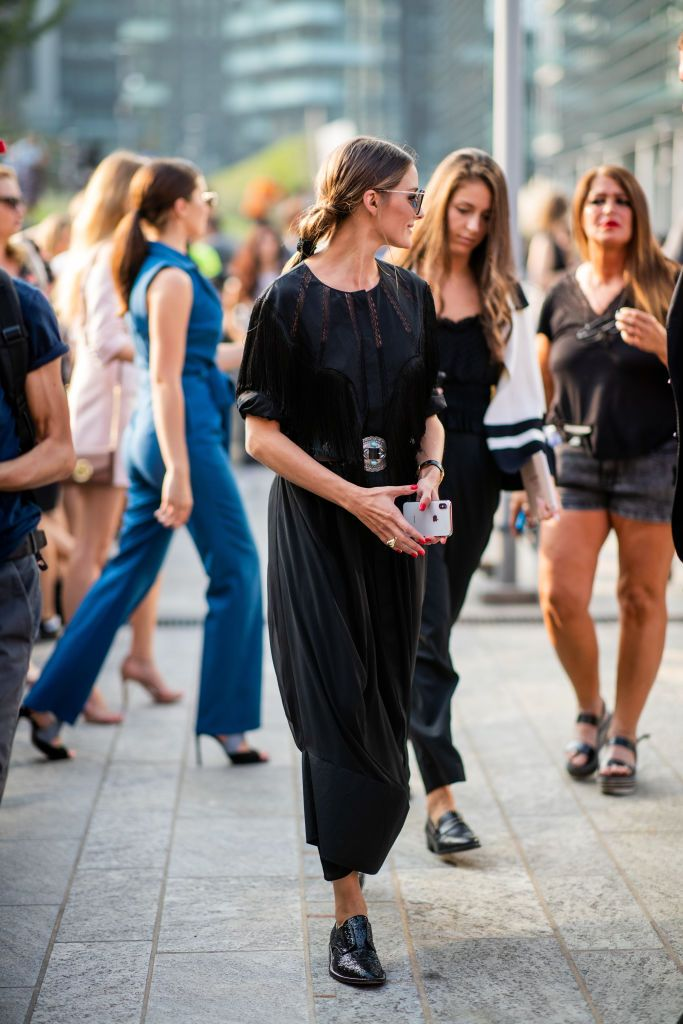 f0b5a67e7f MILAN, ITALY - SEPTEMBER 19: Olivia Palermo wearing black dress, Jimmy Choo  sunglasses