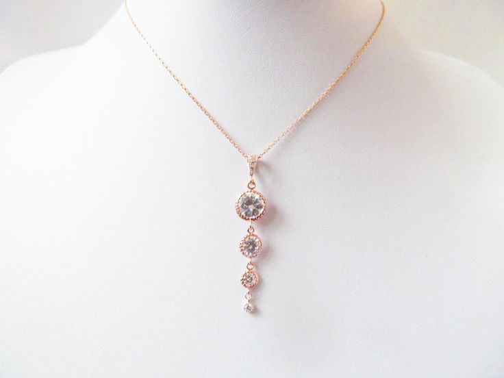 rose gold crystal necklace, rose gold necklace, rose gold bridal necklace , rose gold wedding necklace, wedding jewelry - pinned by pin4etsy.com