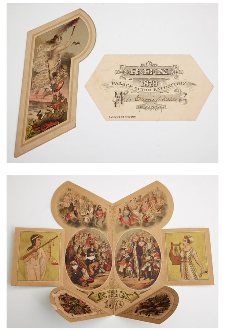 Mardi gras ball invitation and ladys admit card 1879 krewe of rex