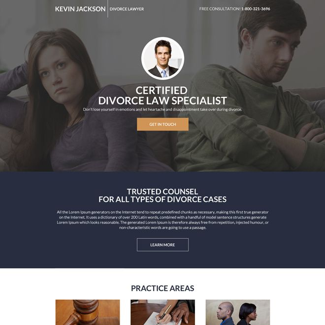 Divorce Lawyer Mini Landing Page Design With Images Divorce