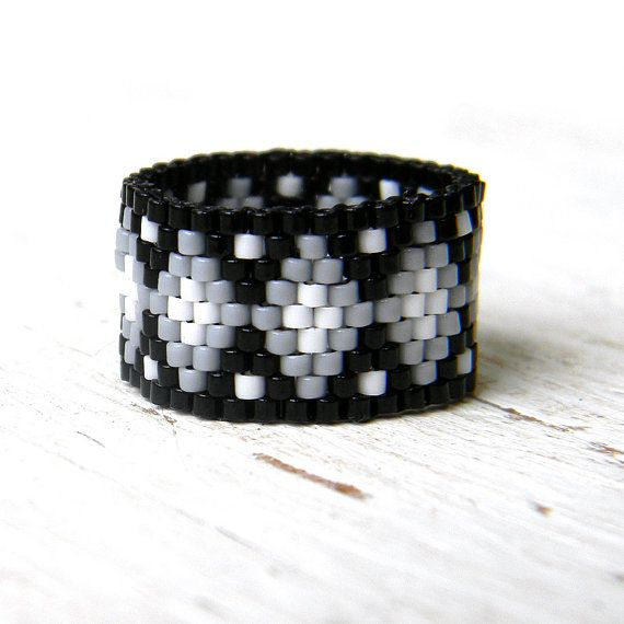 Unusual ring band Wide band ladies ring Statement ring Casual ring Seed bead…