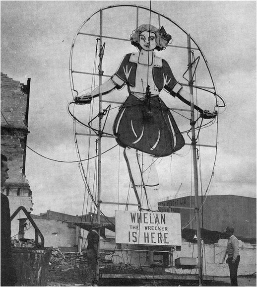 "Original Skipping Girl neon: 1936-1968. ""The end of a Melbourne landmark. The original Skipping Girl sign about to be demolished in October 1968. Subsequently a replica was made by Whiteway Neon and erected on a nearby site"". The Melbourne illuminated sign company Whiteway Neon (originally called Neon Electric Signs)."
