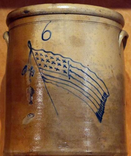 6 Gallon Stoneware Crock New England, 1870 17 Star American Flag Artist Unknown 14 x 12.5 inches