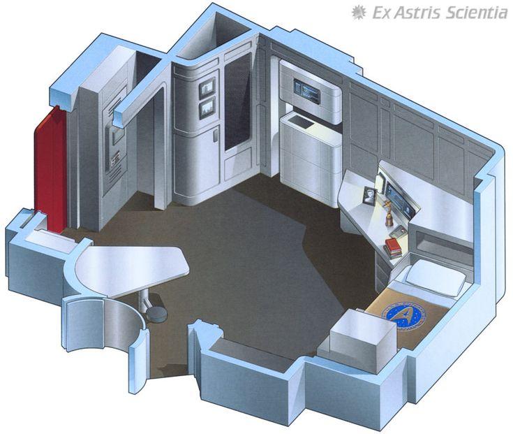 "Captain Kirk's quarters - U.S.S. Enterprise NCC-1701 A - ""Star Trek VI The Undiscovered Country"""