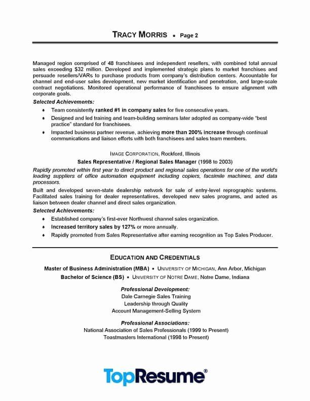 Sales Representative Resume Example 2 Lovely Sales Manager Resume Sample Resume Examples Professional Resume Examples Manager Resume