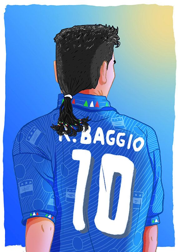 Roberto Baggio SRA3 Print by Footynews on Etsy by Dan Leydon