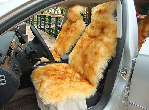 1 Piece Australia Sheepskin Car Seat Covers Real Fur Car Interior Accessories Cushion Newest Winter Stylish Plush Car Seat Cover by Okayda brown tips.